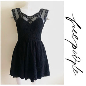 Free People Lace Embroidered Open Back Black Dress